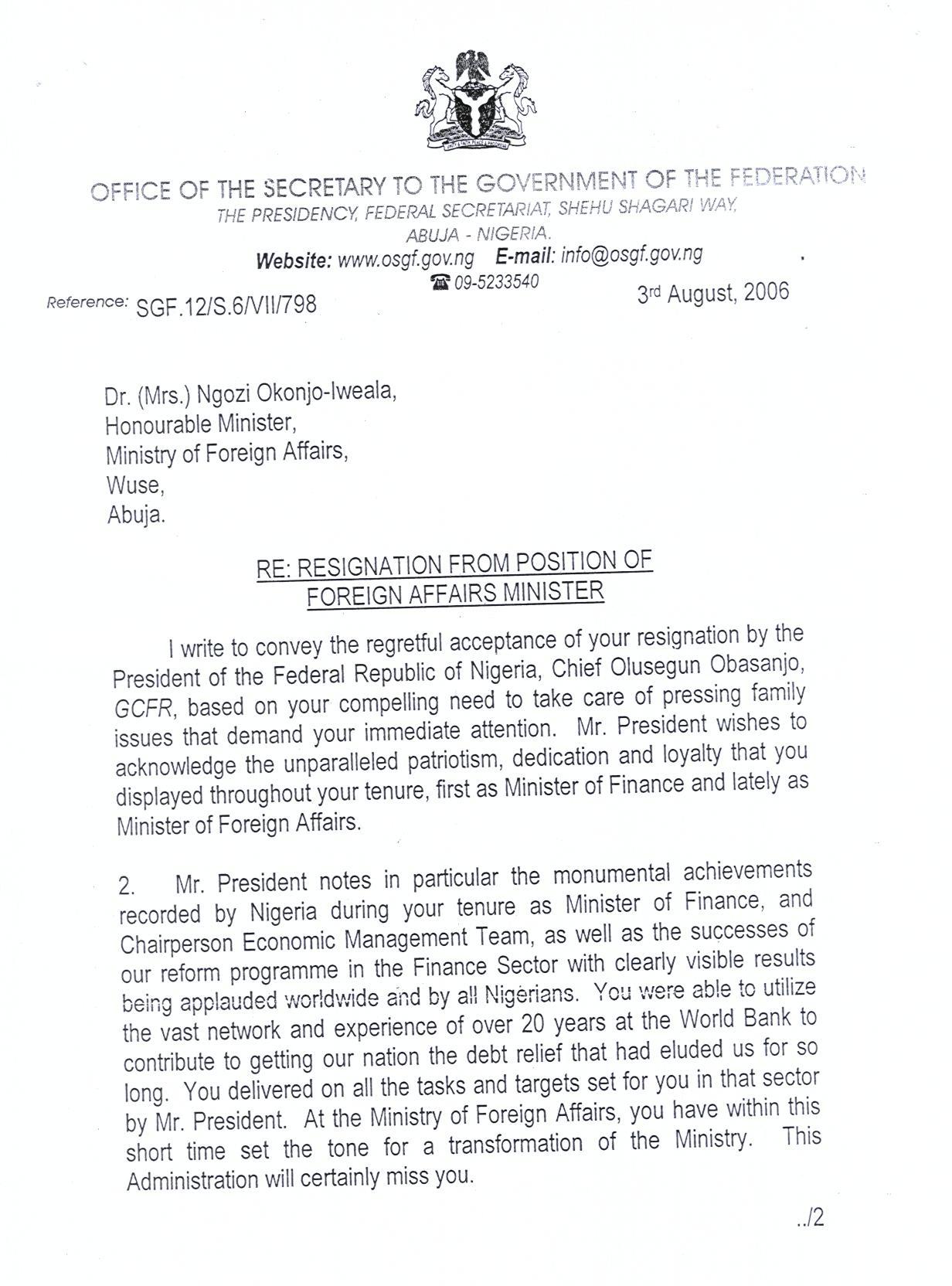 response to resignation letter informatin for letter resignation letter template fgn s response to dr okonjo iweala s resignation